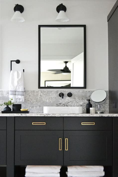 modern bathroom black vanity brass hardware jaclyn peters design bathrooms bathroom black vanity bathroom bathroom vanity designs