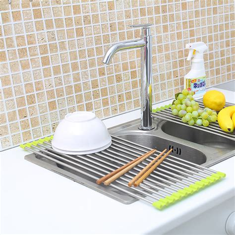 Kitchen Sink Dish Drying Racks New The Sink Roll Up Dish Drying Rack Drainer Stainless Steel Kitchen Shelf Ebay