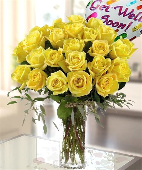 Carithers by Yellow Roses With Get Well Soon Mylar Balloon Pink