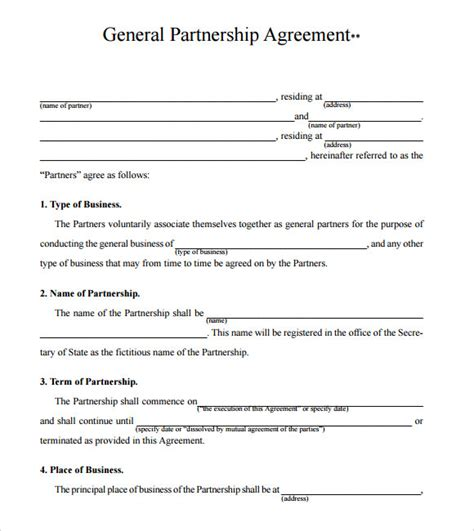 Agreement Letter Format For Business business partnership agreement 8 free sles exles format sle templates