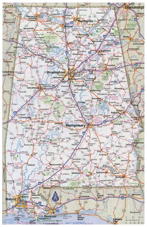 road map for large detailed road map of alabama with all cities