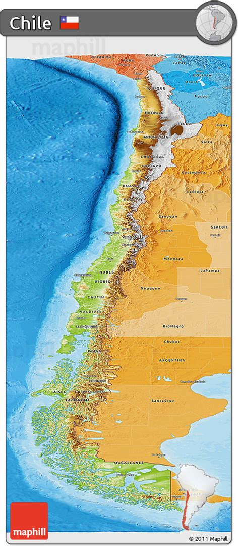 physical map of chile free physical panoramic map of chile political shades outside