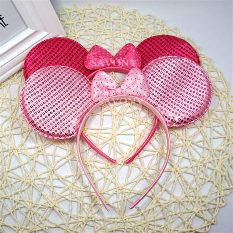 lovely pink baby minnie mouse ear hair accessories headband children birthday