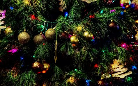 colorful baubles in the christmas tree wallpaper holiday