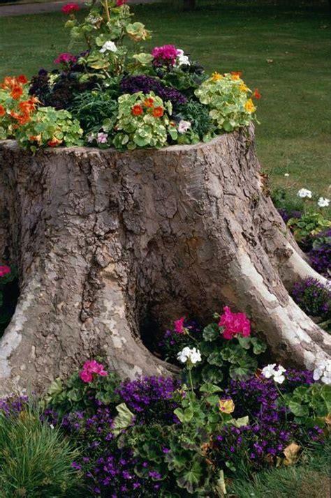 tree stump planter green thumb