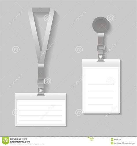 Lanyard Name Tag Holder End Badge Templates Stock Vector Image 48556276 Lanyard Name Badge Template