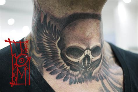 skull neck tattoos skull neck by tomyslav on deviantart