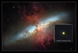 hubble space telescope views new supernova in messier 82