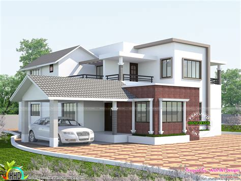 home design roof 2660 square mix roof home kerala home design and