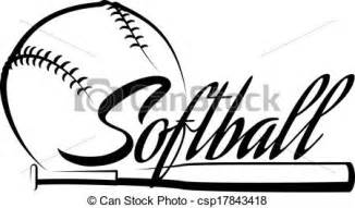 vector clip art of softball ball banner stylized