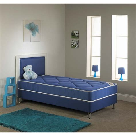 Chelsea Single Divan Bed Set With Mattress In Blue Single Bed And Mattress Set