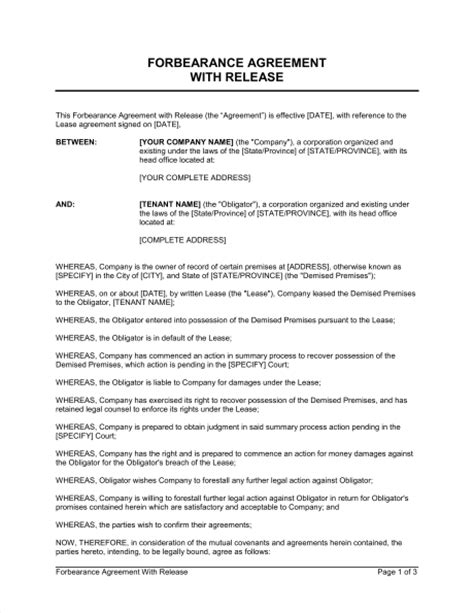 forbearance agreement template forbearance agreement with release provision template