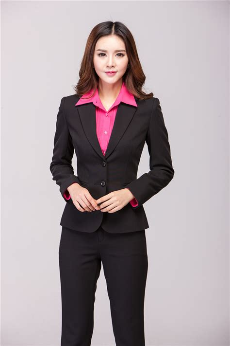 jacket design ladies suits plus size elegant black formal pantsuits uniform design