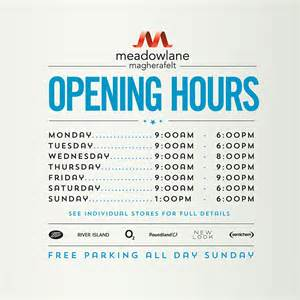 shopping hours opening hours meadowlane shopping centre