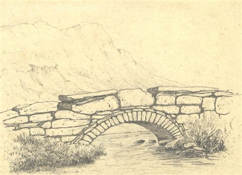 Drawing Landscapes by Late 19th Century Graphite Drawing River Running