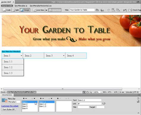 tutorial membuat dropdown menu spry menu bar horizontal edit a drop down menu in dreamweaver spry dreamweaver