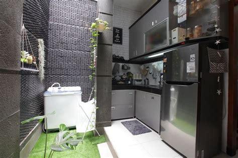 cantiknya nuansa monokrom  dapur mungil berukuran