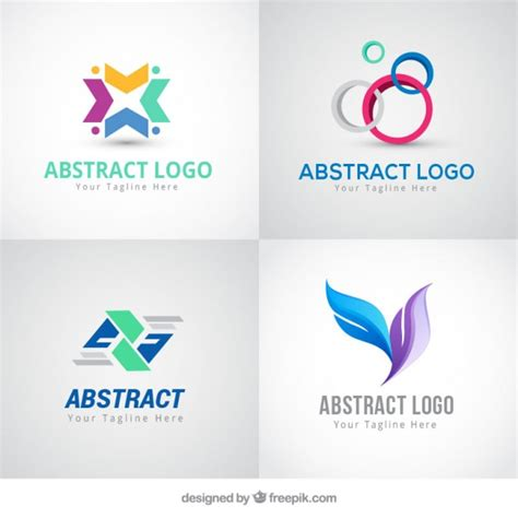 Abstract Colored Logos In Modern Style Vector Free Download Free Modern Logo Templates