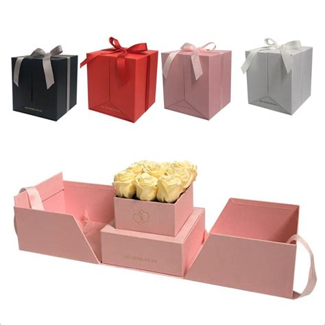 2018 new design flower square gift box can open two sides