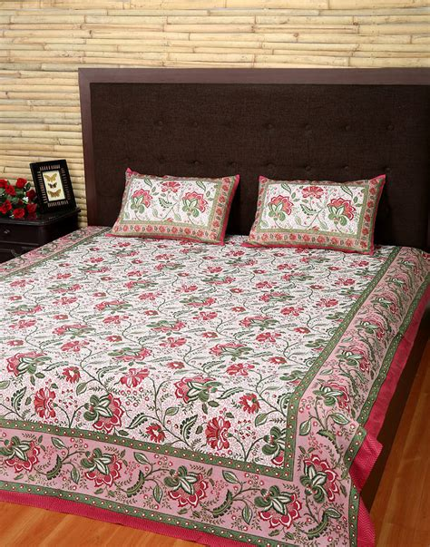 Handmade Bed Sheets - indian handmade bedspread white beautiful cotton floral