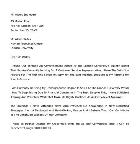sle cover letter exle 24 download free documents