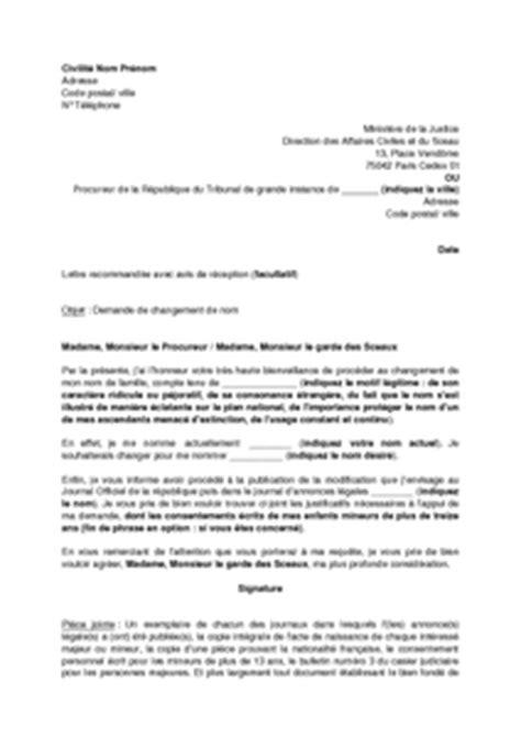 Modification Nom De Famille Mineur lettre de demande de changement de nom pour motif l 233 gitime