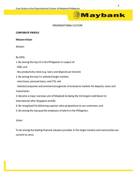 Philippines Credit Letter study on the organizational culture of maybank