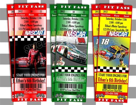 printable nascar birthday invitations printable nascar invitations ticket style customized
