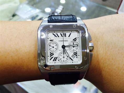 100 gold 6th floor cartier santos xl chronograph swiss hour