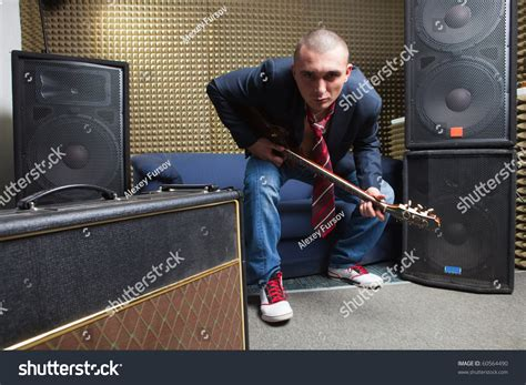 sofa sound studio guitar player recording studio sofa guitar stock photo