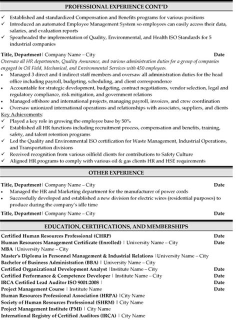 hr specialist resume sle template