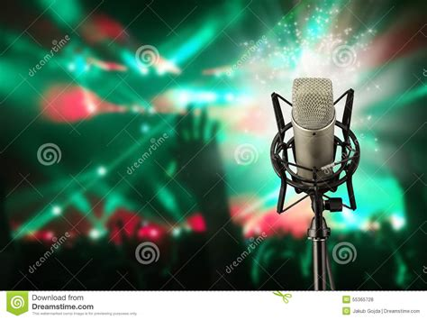 singing background singing microphone on concert stock photo image