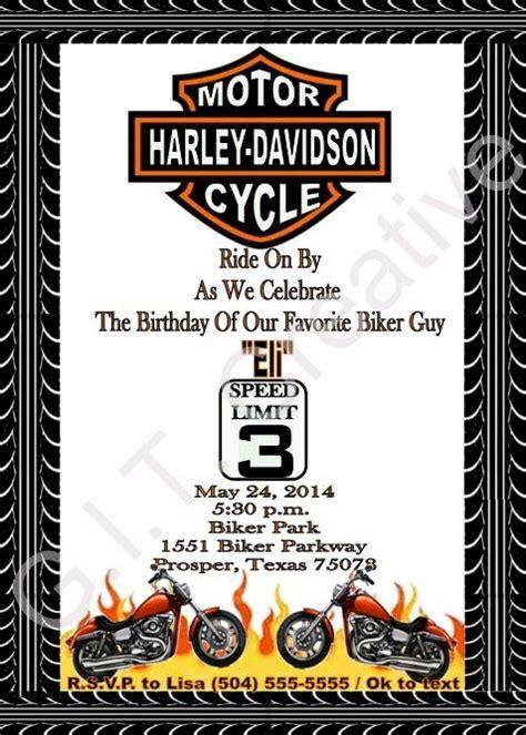 Harley Davidson Birthday Party Invitation Invitations Pinterest Party Invitations Harley Harley Davidson Invitations Templates