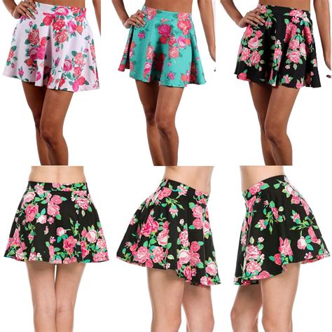 flower patterned mini skirt sexy floral print stretch flared a line peplum skater