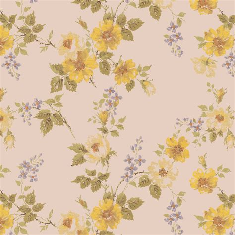 Vintage Yellow floral vintage wallpaper yellow flowers 1950s vintage antique wallpaper pattern florals