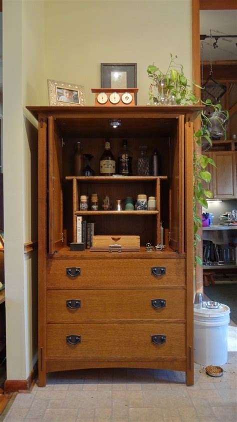 armoire bar handmade refitting of stickley crt television armoire into