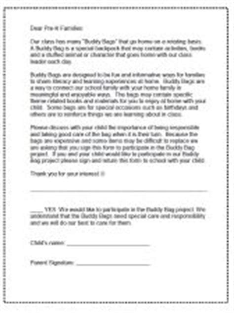 Parent Letter For Literacy Bag Preschool And Kindergarten Take Home Bags