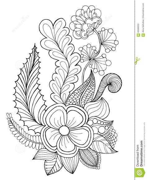 Fantasy Flowers Coloring Page. Stock Vector   Image: 69389033