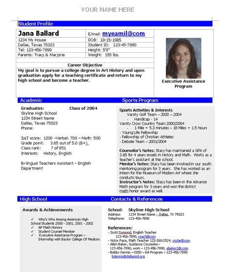 athletic resume template free college admission resume template home college planning