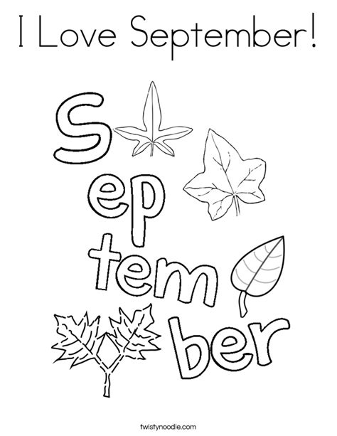 Coloring Pages For September i september coloring page twisty noodle