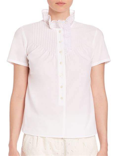 Pleated Collar Blouse by rykiel pleated high collar blouse in white