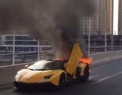 Lamborghini Burning Lamborghini Aventador Sv Roadster Burns To A Crisp In