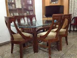 glass top six seater dining table in kachiguda hyderabad