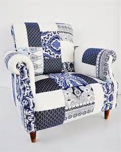 Blue And White Armchair Blue White Porcelain Patchwork Armchair