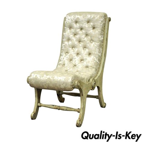 Small Slipper Chair Design Ideas Antique Small Tufted Carved Wood Distress Painted Slipper Accent Chair Ebay