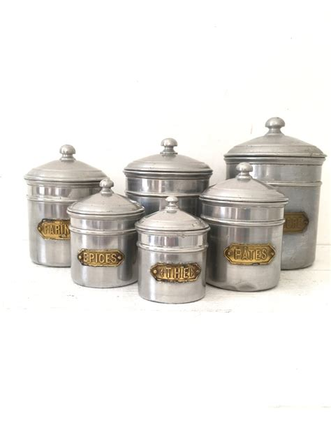 french kitchen canisters french vintage art deco embossed kitchen canisters set of 6 aluminium 1940 loft industrial
