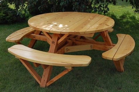 round picnic table with attached benches moon valley m1000 56 in round picnic table with attached