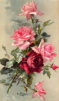 print free ship french victorian roses delights c klein