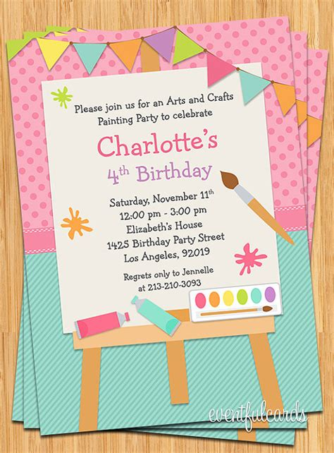 art birthday party invitations theruntime com