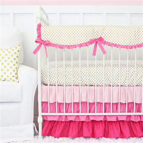 pink and gold baby bedding pink and gold dot ruffle crib bedding set by caden lane